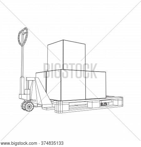 Hand Pallet Jack Lift With Pallet And Stacked Goods Cardboard Boxes. Manual Forklift. Logistics Ship