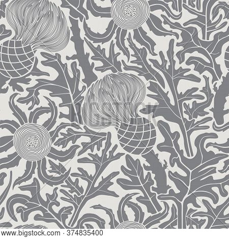 Abstract Seamless Floral Background With Thistle Flowers. Vector Illustration Monochrome Pattern.