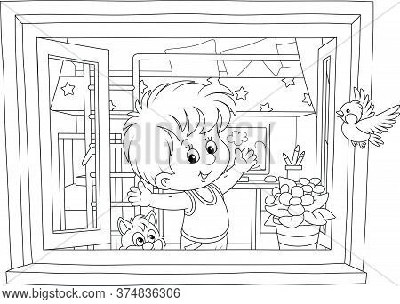 Little Boy Doing Gymnastic Exercises By An Open Window In His Nursery Room On A Warm Morning, Black