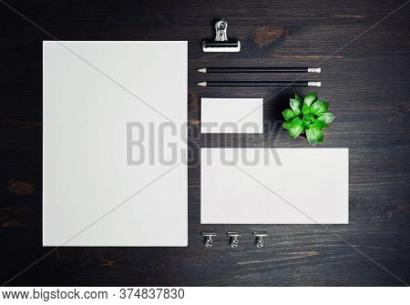 Stationery Mock Up On Wooden Background. Responsive Design Template. Branding Identity Mock Up. Top