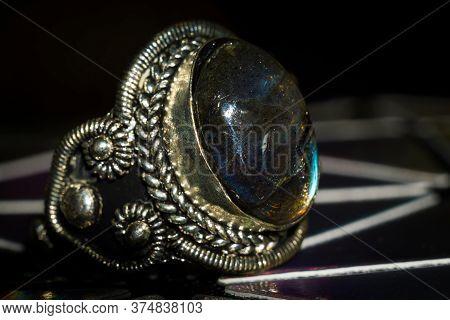 Silver Ring With Labradorite