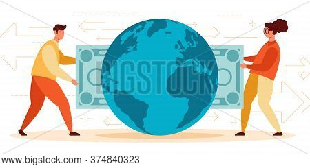 Vector Illustration Of Instant International Cash Payment