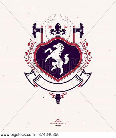 Heraldic Signs Vector Vintage Elements.heraldry,animal, Axe, Ax, Hatchet