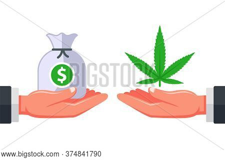 Selling Marijuana To Customers. Drug Addiction. Illegal Business Of A Dealer Dealer. Flat Vector Ill