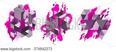 Abstract Pink Lava Fluids With Geometric Lines Vector Illustrations Set, Bubble Gradients Shapes In