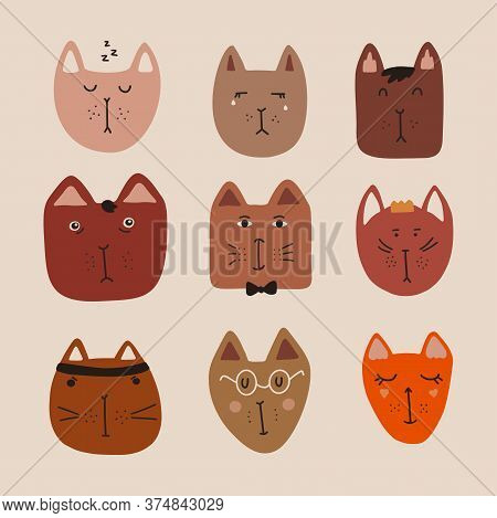 Set Of Cute Cats With Emotions. Sleepy Cat, Crying Cat, Princess Cat, Gentleman Cat, Scientist Cat