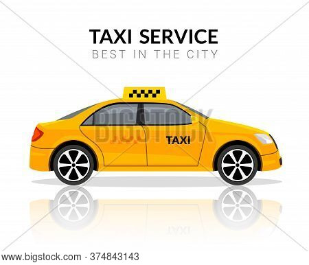 Taxi Car App Cab Flat Yellow Vector Car Icon. Taxi Travel Taxi Design Service