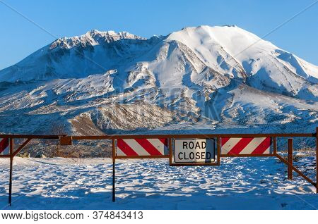 Road Closed To Mount Saint Helens National Monument, An Active Stratovolcano In Washington State, Us