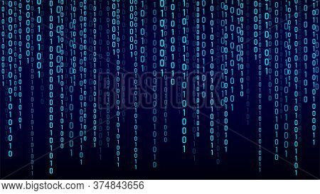 Blue Matrix Background. Stream Of Binary Code. Falling Numbers On Dark Backdrop. Digital Computer Co