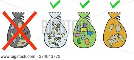 Various Garbage In Bags. Proper Sorting Of Garbage. Vector Illustration