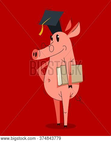 Funny Cartoon Pig Wearing Student Hat And Holding A Book Graduate Student Vector Illustration, Smart