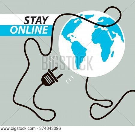 No Internet Connection Vector Concept Poster Or Banner With Unplugged Electrical Plug With Earth Glo