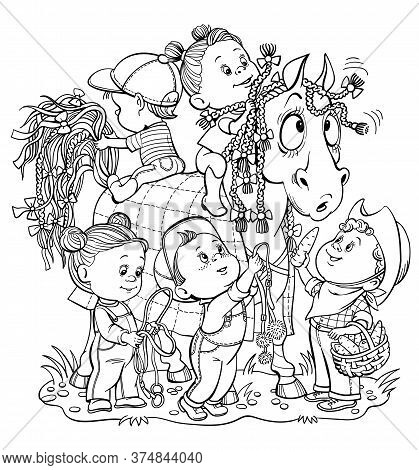 Vector Illustration For Coloring. Funny Children Decorate A Horse With Colorful Ribbons And Bows. An