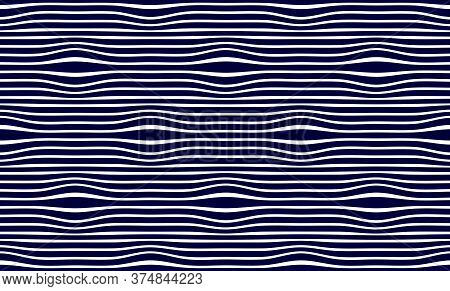 Lined Seamless Minimalistic Pattern With Optical Illusion, Op Art Vector Minimal Lines Background, S