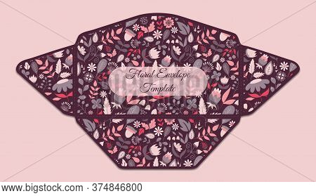 Envelope Template With Floral Pattern Inside. Good For Holiday Greeting, Card, Wedding Or Baby Showe