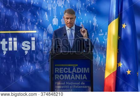 Bucharest, Romania - July 01, 2020: Klaus Iohannis, The President Of Romania, Speaks At The Rebuildi