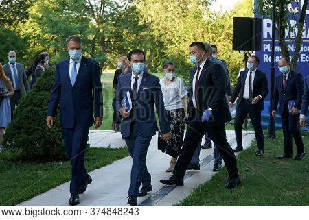 Bucharest, Romania - July 01, 2020: Klaus Iohannis, The President Of Romania And Romanian Prime Mini