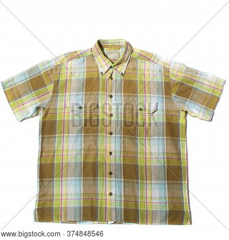 Green Summer Shirt With Short Sleeves On A White Background