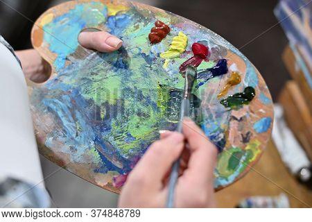 Color Matching Palette With Oil Paints. Close-up, No Face