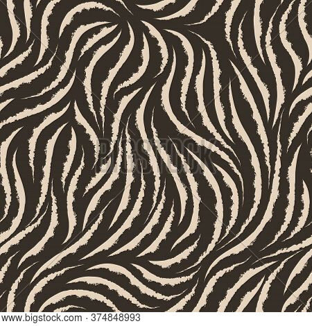 Vector Seamless Texture Of Beige Color From Smooth Lines With Torn Edges Isolated On A Brown Backgro