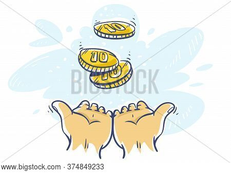 Cashback Concept. Human Hands Katching 10 Cents Coins Of Very Small Amount Of Money. Gold Coin Shini