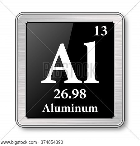Aluminum Symbol.chemical Element Of The Periodic Table On A Glossy Black Background In A Silver Fram
