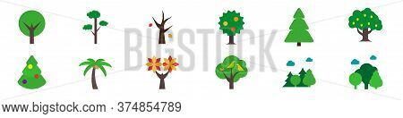 Vector Trees Flat Icon Set. Round Crown Tree, Pine, Dead Tree, Apple Tree, Spruce, Oak, Decorated Ch