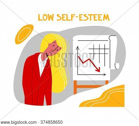 Vector Flat Illustration Young Woman With Reduced Self Confidence, Low Self Esteem. Concept Symptoms