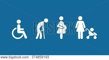 Symbol Priority Disable Passenger Elderly Passenger Pregnant Old Man Woman With Infant Child Baby Or