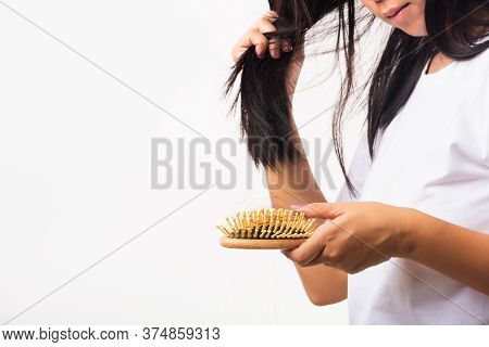 Asian Woman Unhappy Weak Hair Her Hold Hairbrush With Damaged Long Loss Hair In The Comb Brush On Ha