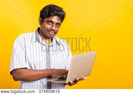 Asian Happy Portrait Young Black Man Smiling Standing Wear Shirt Holding And Typing Laptop Computer