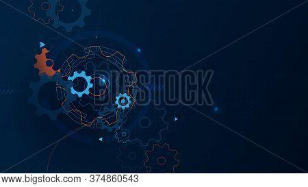 Abstract Technology, Futuristic Digital Hi Tech Concept.  Abstract Machine Cogwheel, Gears Backgroun