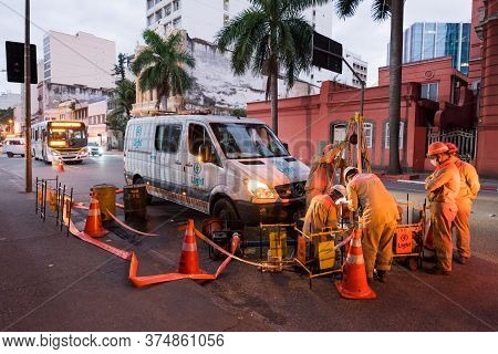 Rio De Janeiro, Brazil - July 2, 2020: Group Of Electrician Workers Are Making Repairs In The City S