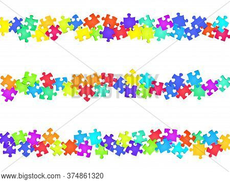 Game Tickler Jigsaw Puzzle Rainbow Colors Pieces Vector Background. Top View Of Puzzle Pieces Isolat