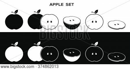 Fulll Set Of Apple Icons. Whole, Cut, Slice And Ringlet. Part Of Menu Design. Black And White Vector