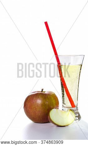 Decanter And A Glass Of Cider, Apple On A White Background