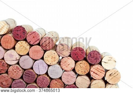 Used Wine Corks Isolated On White Background. Colorful Corks From White And Red Wine Bottles.