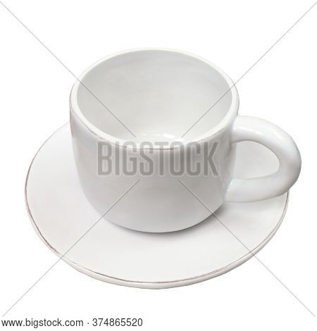 Blank White Fictile Cup Of Tea And Dish Isolated On White Background. Clean Glossy Tea Pair. Glossy