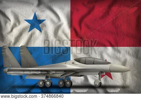 Fighter, Interceptor On The Panama Flag Background. 3d Illustration