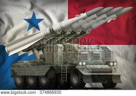 Tactical Short Range Ballistic Missile With Arctic Camouflage On The Panama Flag Background. 3d Illu