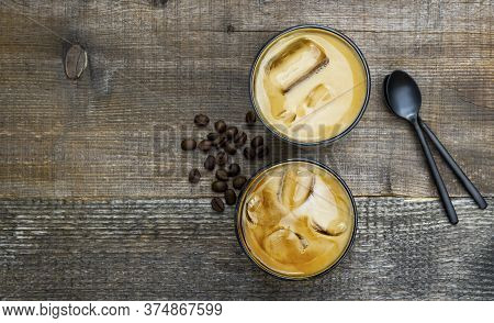 Cold Summer Coffee, Latte, Frappe, Frappuccino. Coffee Iced Cocktail Drink With Frozen Coffee Ice Cu