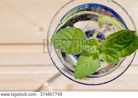 Mint Julep In Glass .cold Soft Drink With Mint.lemonade Drink In A Glass. Fresh Natural Organic Herb