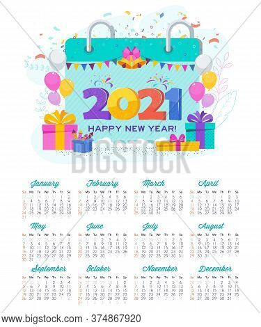 2021 Calendar And Greeting Card. Huge Gift Box, Christmas Tree, Garland Hangs. Flashes Of Fireworks,