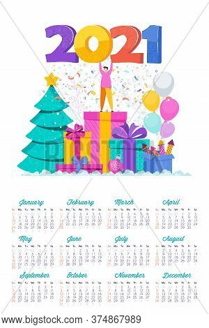 2021 Calendar And Greeting Card. Huge Christmas Tree. Boxes With Gifts, Garland Hangs. Flashes Of Fi