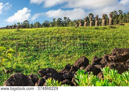 Seven Ahu Akivi Moai, Which Are The Only Moai To Face The Sea. Easter Island.