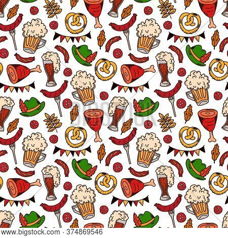 Hand Drawn Oktoberfest Seamless Pattern. Oktoberfest Background Pattern With Drink And Food On White