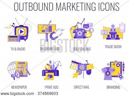 Outbound Infographics Marketing Icons. Traditional Offline Marketing. Duoton Lilac And Yellow Color.