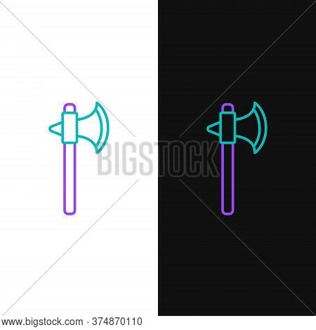 Line Medieval Axe Icon Isolated On White And Black Background. Battle Axe, Executioner Axe. Colorful