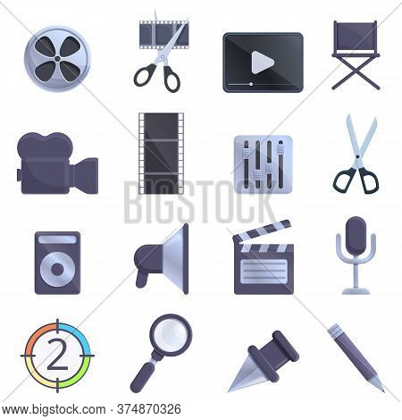 Video Editing Icons Set. Cartoon Set Of Video Editing Vector Icons For Web Design
