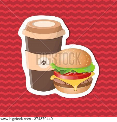 Burger And Cup Of Coffee - Sticker On Red Striped Background. Graphic Design Elements For Menu, Post